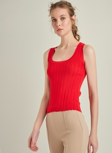 NGSTYLE Kalın Askılı Triko Bluz Kırmızı